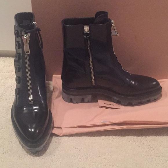 cba5ee248fc10 Miu Miu Lug sole Boots size 6.5. Miu Miu. M 5a4f17b83b160856f3015c42.  M 5a4f17c0fcdc31cf86015b57. M 5a4f17cb46aa7cdce80173fe.  M 5a4f17d6c9fcdfa48b0164ff